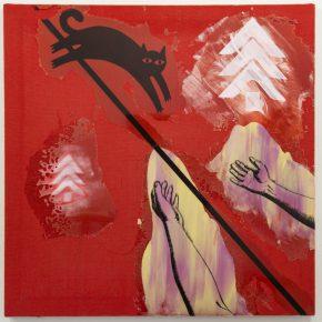 Rodrigo Lobos, Miembro fantasma, gato y Arauco, 2018, arpillera y silicona de platino, 92 x 122 cms. Cortesía del artista y Die Ecke Arte Contemporáneo, Santiago