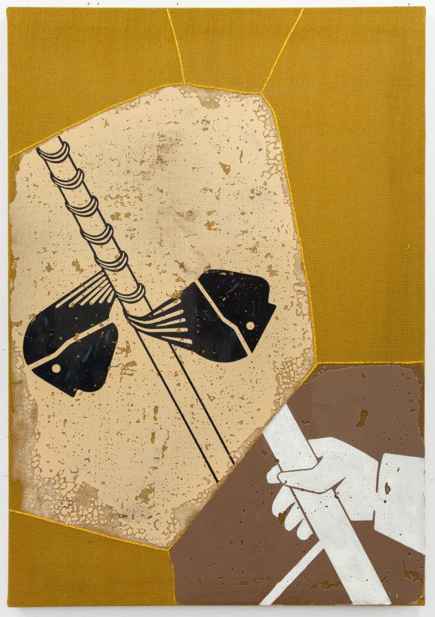 Rodrigo Lobos, Sin título, 2018, arpillera, bordado y silicona de platino, 117 x 168 cms. Cortesía del artista y Die Ecke Arte Contemporáneo, Santiago