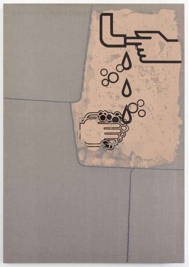 Rodrigo Lobos, Sin título, 2016, arpillera, bordado y silicona de platino, 117 x 168 cms. Cortesía del artista y Die Ecke Arte Contemporáneo, Santiago
