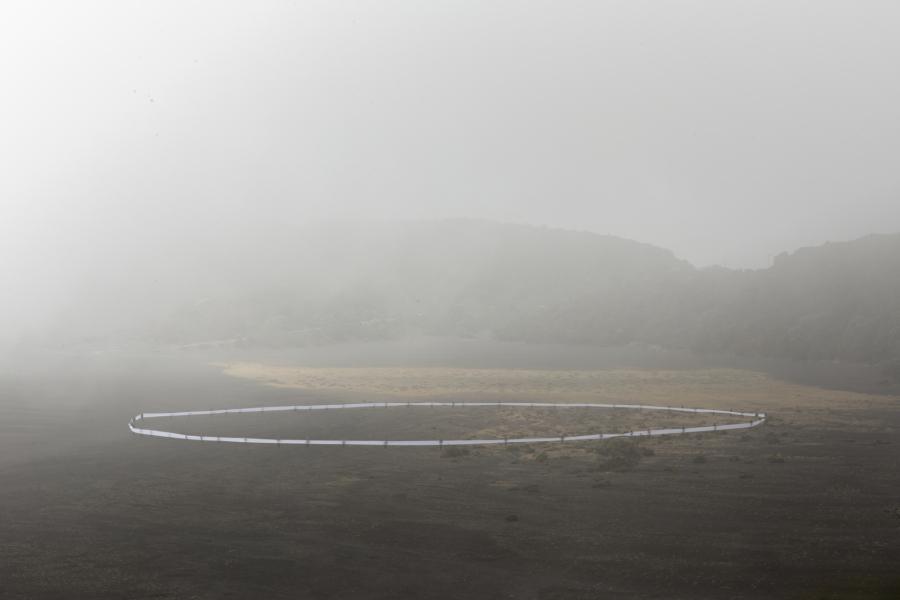 Miguel Braceli, intervención en el Volcán Irazú, Costa Rica, 2016. Foto cortesía del artista