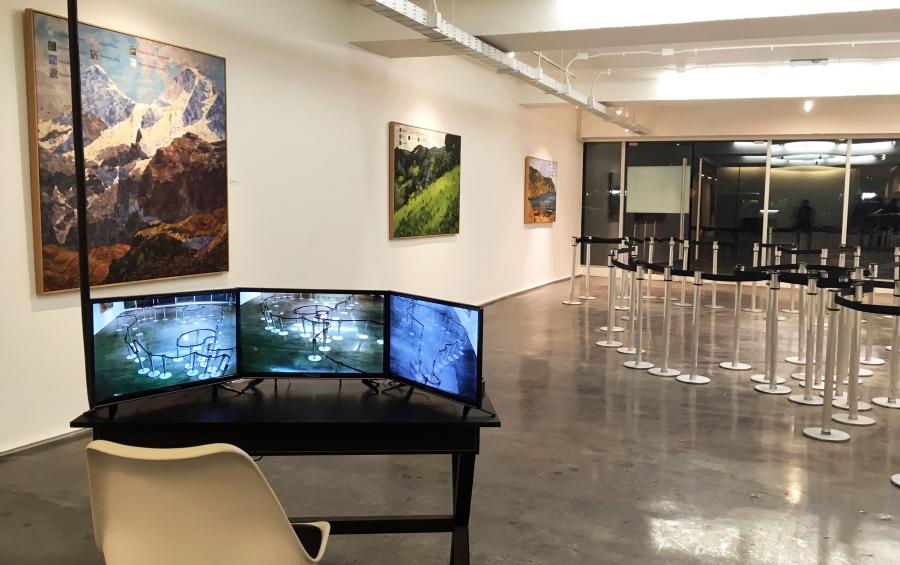 Mateo Maté, Área restringida (América). Vista de la exposición Fronteras Naturales en Galería Isabel Aninat, Santiago de Chile, 2018. Foto: Nicolás Narváez