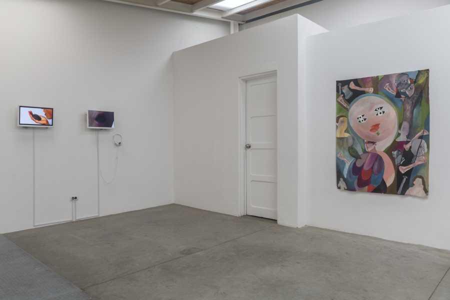 """Vista de la exposición """"Bestias sin Nombres"""", con obras de Juliana Góngora (izq) y Manuela Viera-Gallo (der). Instituto de Visión, Bogotá, 2018. Cortesía de la galería"""