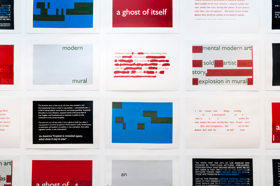 """Vista de la exposición """"Didactic Panels, America Tropical Interpretative Center, LA"""", de Ángela Bonadies, en GBG Arts, Caracas, 2018. Foto cortesía de la galería"""