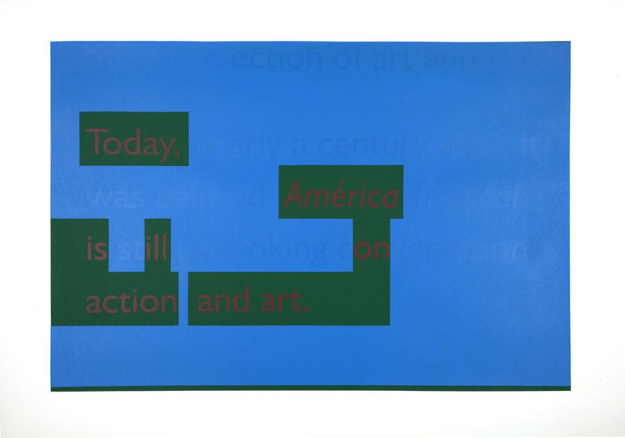 """Ángela Bonadies, de la serie """"Didactic Panels, America Tropical Interpretative Center, LA"""", 2018, serigrafía. Cortesía de la artista"""