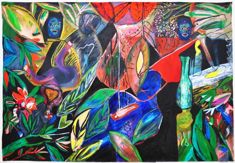 Manuela Viera-Gallo, La noche de los tiempos, 2018, óleo sobre lienzo, 210 x 145 cm. Cortesía: Instituto de Visión, Bogotá