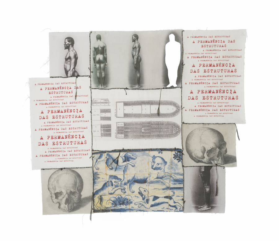 Rosana Paulino, A permanência das estruturas, 2017, impresión digital sobre textil, recorte y costura, 96 × 110 cm. Colección privada, São Paulo