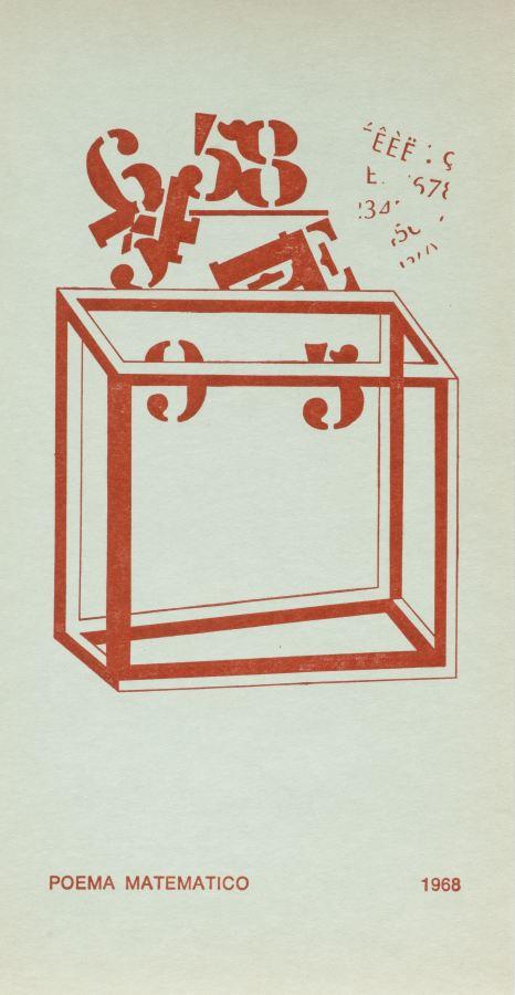Edgardo Antonio Vigo, Poema matemático, 1968, sellos sobre cartón, 23,6 cm x 12,3 cm. Cortesía: Blanton Museum of Art, Austin, Texas
