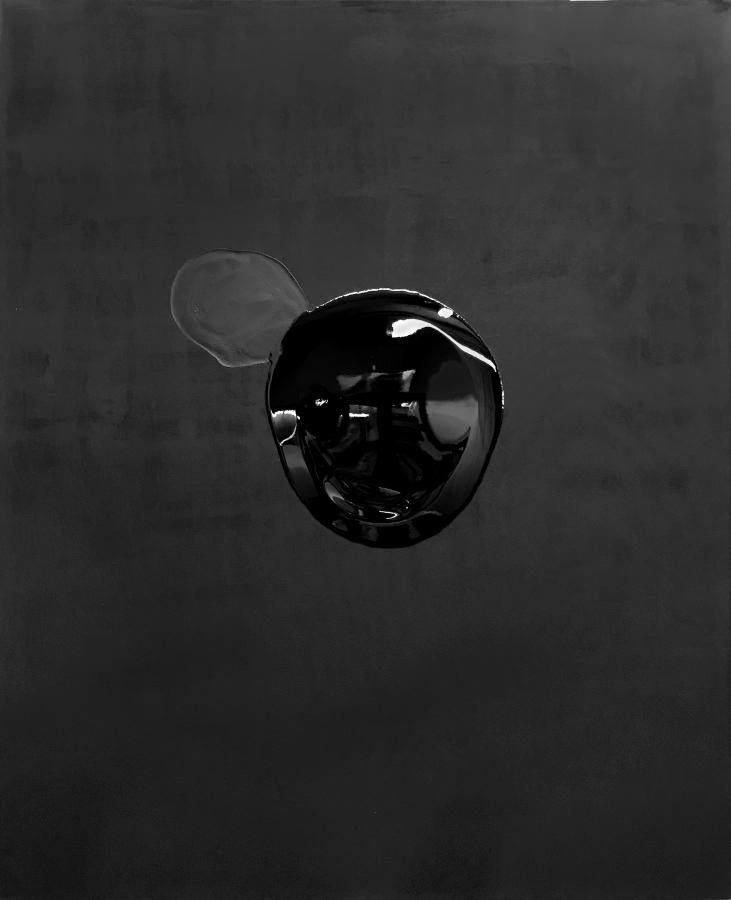Tony Vázquez-Figueroa, Black Mirror Painting XXIV, 2018, acrílico y resina sobre tela, 1,5 x 1,3 m. Cortesía del artista y LnS Gallery, Miami
