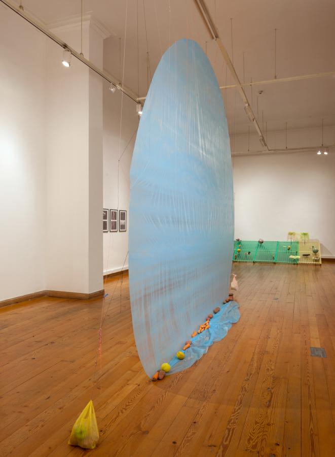 Maria Karantzi, Parásito, 2018, bordado sobre tela, 90 x 110 cms; materiales mixtos, 500 x 500 cms. Foto: Sebastián Mejía