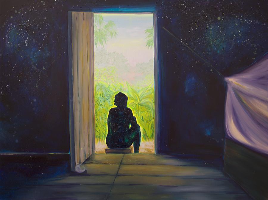 Adriana Ciudad, Donde el alma goza en la inmensidad, 2018, óleo sobre lienzo, 120 x 160 cm. Cortesía de la artista