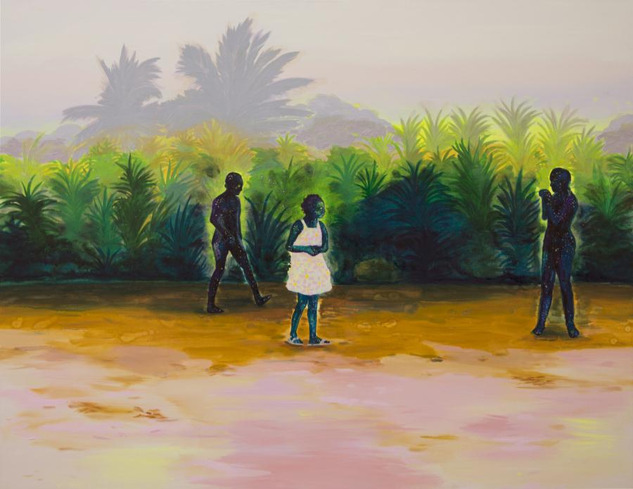 Adriana Ciudad, Hay en el cielo un destello resplandeciente que me ilumina por donde voy, 2018, óleo sobre lienzo, 100 x 130 cm. Cortesía de la artista