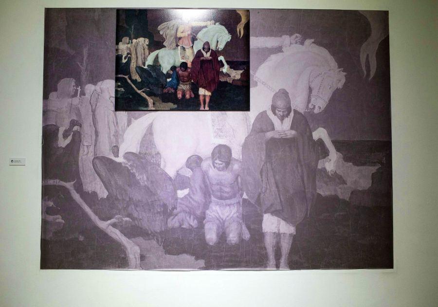 """Obra de Jorge de la Reza (Bolivia) en la muestra """"Fricciones"""", Sala de Arte de la Fundación Minera Escondida, Antofagasta, Chile, 2018. Parte de SACO7. Foto: Sebastián Rojas"""