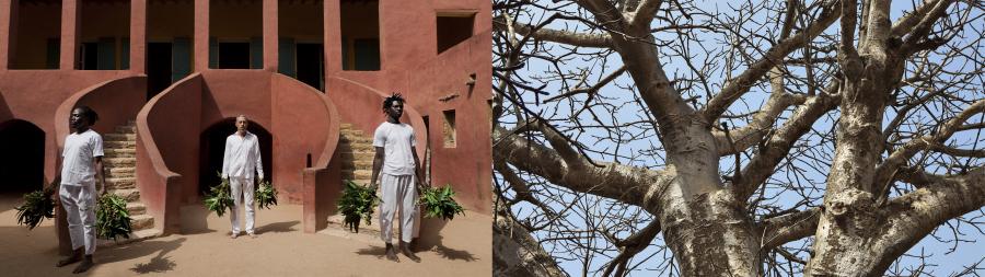 Ayrson Heráclito, Sacudimento, fotografía (registro del performance en la isla de Gorea, Senegal, 2015). Díptico I. Cortesía del artista