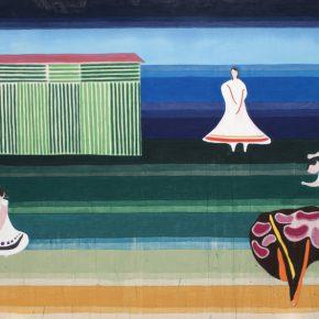 Vicente Matte, En el jardín, 2018, distemper sobre tela, 133 x 200 cm. Cortesía del artista y TIM
