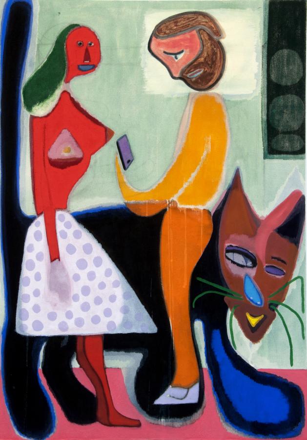 Vicente Matte, Mann, Frau und Katze, 2018, distemper sobre tela, 100 x 70 cm. Cortesía del artista y TIM