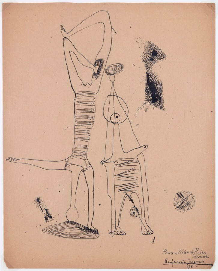 Benjamin Palencia, Mirando el paisaje, 1930, tinta sobre papel, 30 x 24 cm. Cortesía: Leandro Navarro
