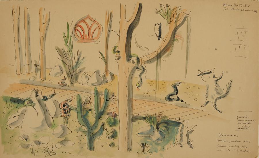 Lina Bo Bardi, Proyecto de Diorama para el Museu do Instituto Butantan, 1964, gouache, lápiz y tinta china sobre cartulina, 28,2 x 46,3 cm. Instituto Bardi/Casa de Vidro, Sao Paulo