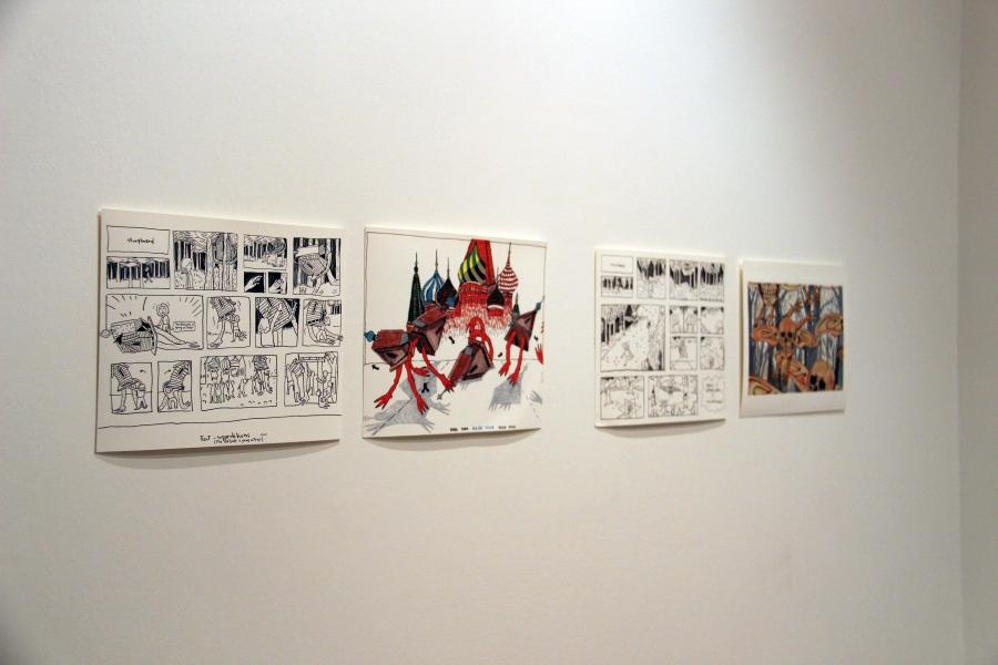 """Storyboards de Pilar Quinteros en la exposición """"Instituto Nacional del Futuro Incierto"""", en el Instituto Cervantes de Moscú, 2018. Foto cortesía de Daniela Berger y Paula Cortés"""
