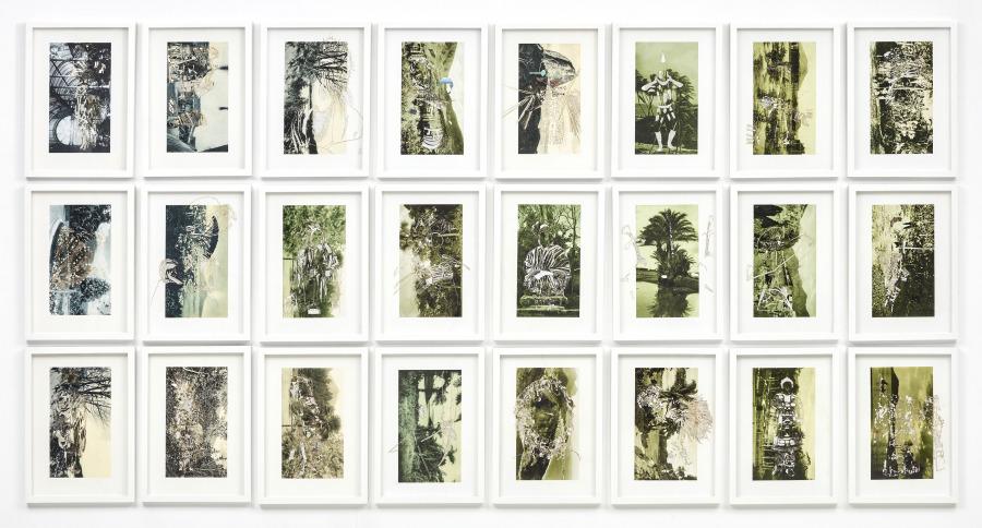 Nicole Franchy, Serie Vacío Tropical, 2018, collage, corte láser sobre impresión en papel de algodón y material enciclopédico, 48 x 32 cm c/u. Pieza única. Cortesía de la artista
