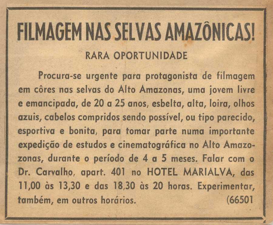 Flávio de Carvalho, Experiência nº4: Filmagem nas selvas amazônicas!, 1958, anuncio publicado en periódico no identificado, 10 x 15 cm. Acervo Centro de Documentação Alexandre Eulálio – Universidade Estadual de Campinas