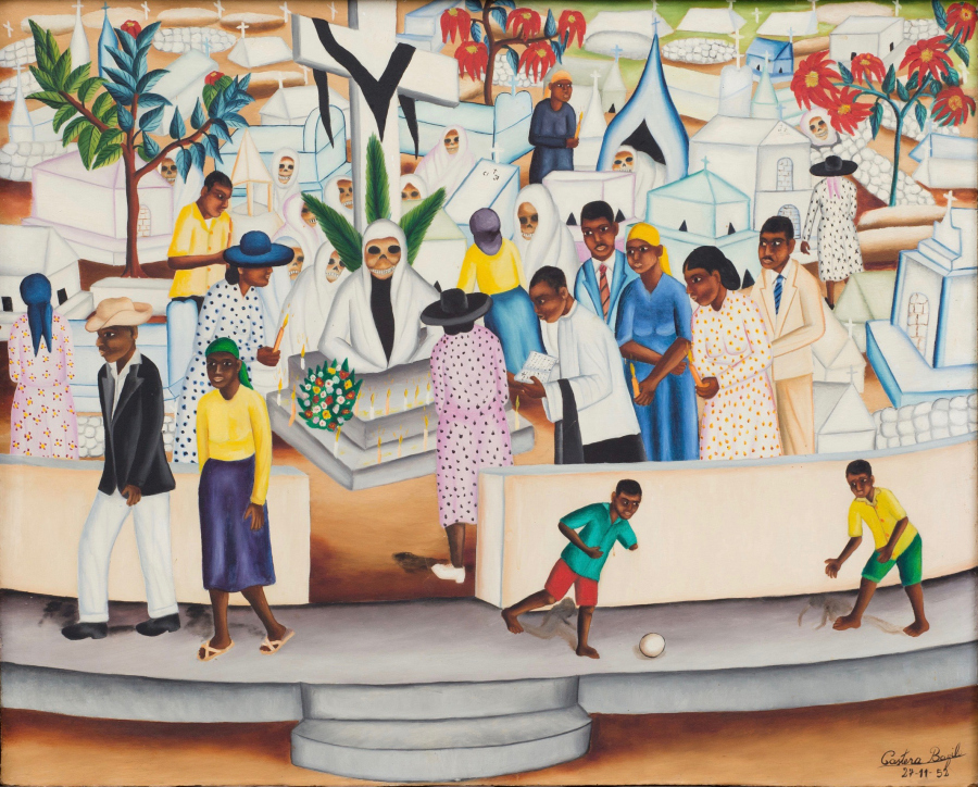 Castera Bazile (1923-1965), Cemetery Scene, 1952. Cortesía: The Gallery of Everything, Londres. ©Castera Bazile/The Gallery of Everything