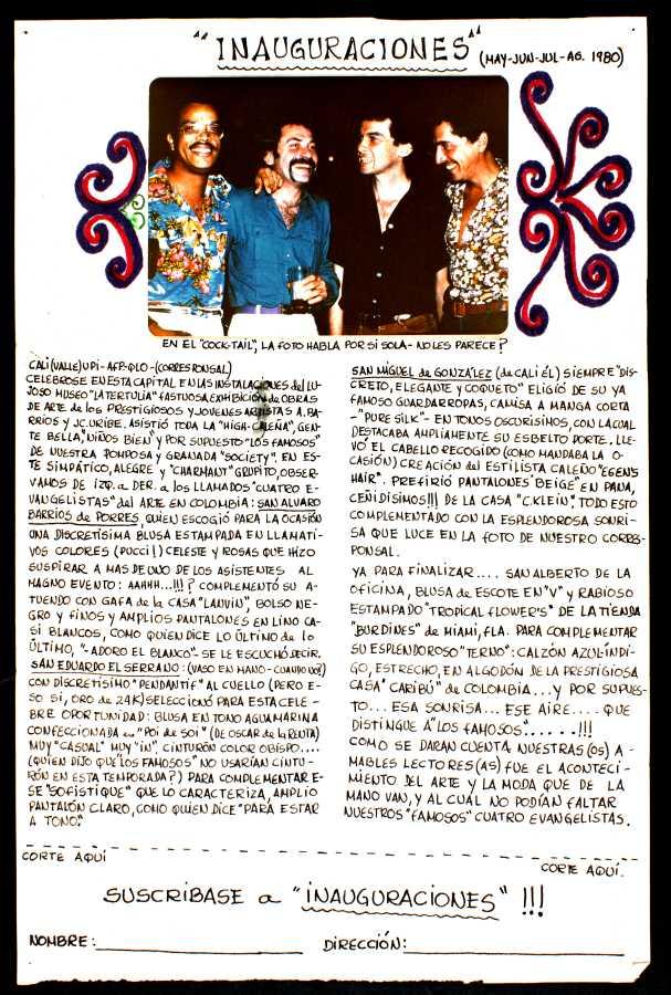 Juan Camilo Uribe, Inauguraciones mayo, junio, julio y agosto, 1980, fotografía e impresión tipográfica sobre papel. Cortesía: María Wills