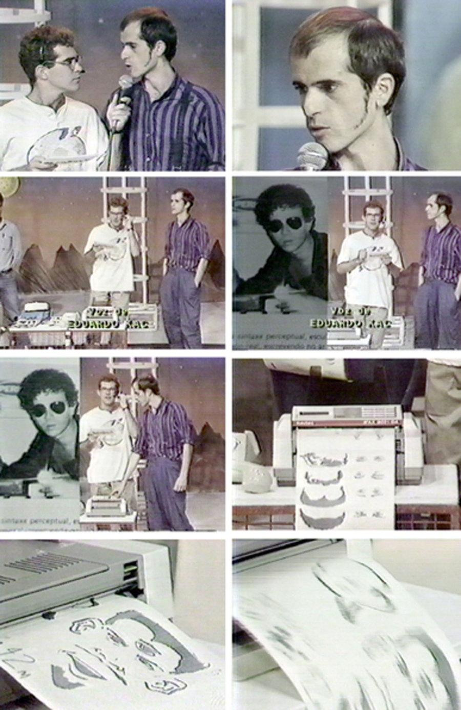 Eduardo Kac e Mário Ramiro, Retrato suposto, rosto roto, 1988, teleperformance exibida no Programa Eureka, da TV Cultura em 08/10/1988. Coleção Mário Ramiro