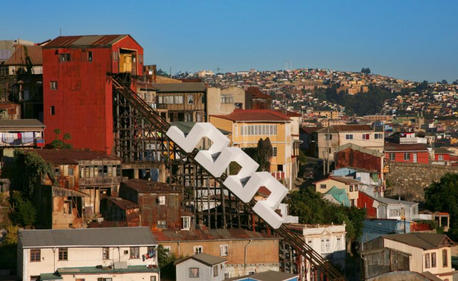 Lang/Baumann, Spiral #1, Cerro Monjas, Valparaíso, Chile, 2013. Foto cortesía: KBB