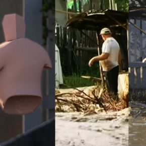 Cristóbal Cea, Diluvios, 2018, animación 3D y noticias encontradas, video full HD, 4 canales. Foto cortesía del artista