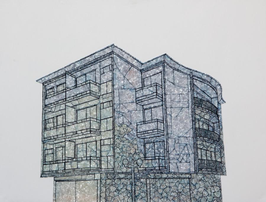 Paula Dittborn, Shapira y Eskenazi, 2018, celuloide nacarado sobre acrílico y pintura acrílica, 120 x 90 cm. Cortesía de la artista