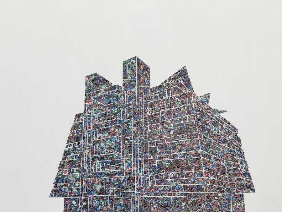 Paula Dittborn, Soto de Angelis, 2018, celuloide nacarado sobre acrílico y pintura acrílica, 120 x 90 cm. Cortesía de la artista