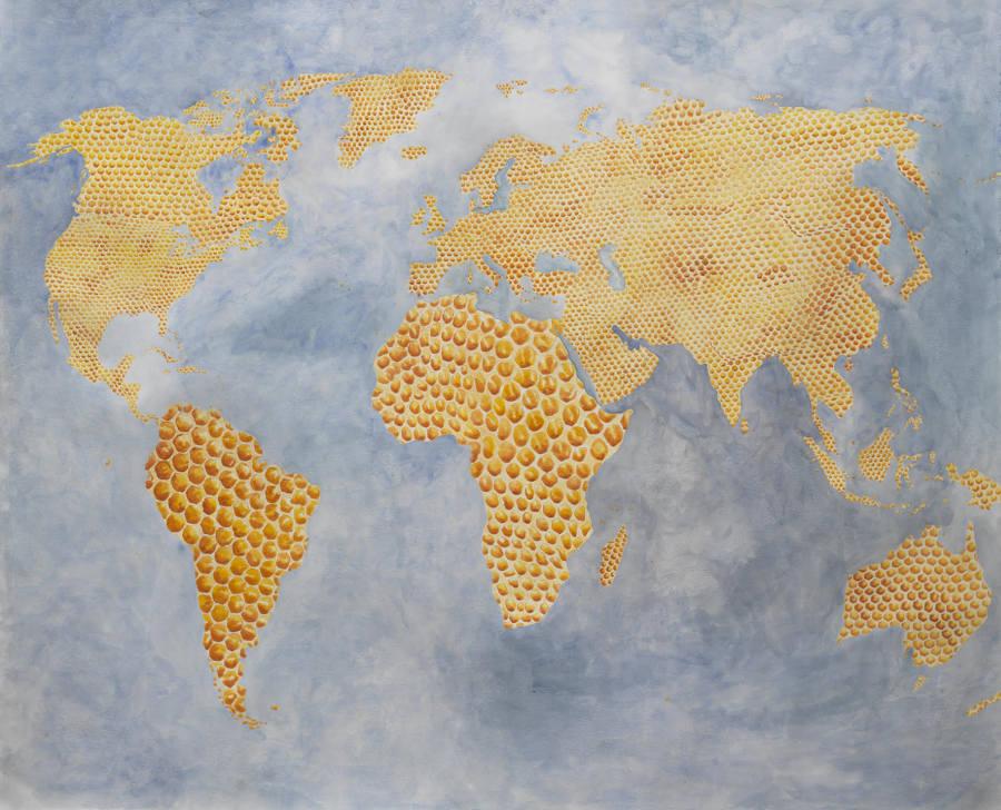 Sigismond de Vajay, Golden World, 2013, acuarela sobre papel Fabriano, 120 x 144 cm. Cortesía del artista