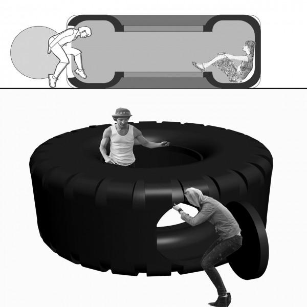 ván Navarro, boceto para Radetzky Loop, 2013. Obra en colaboración conAtom™ y Pedro Pulido