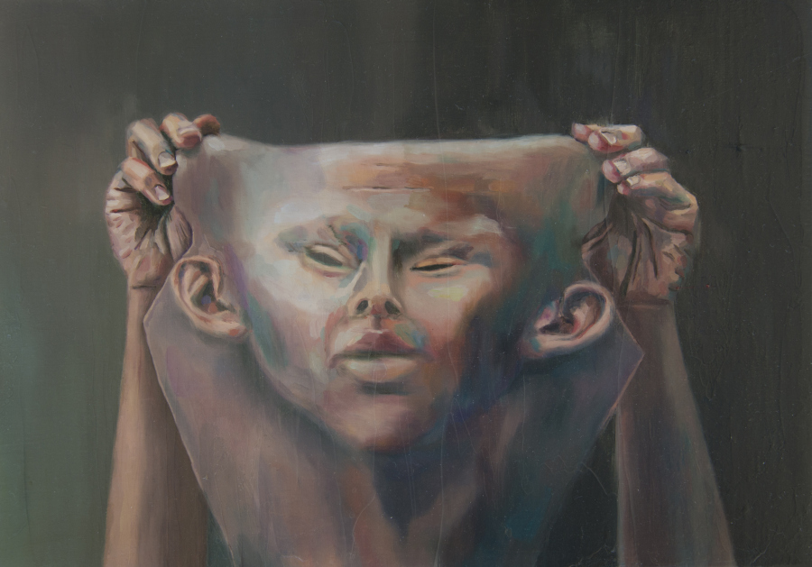 Mariana Najmanovich, La envoltura IV, óleo sobre tela, 21 x 30 cm., 2018. Cortesía: Aninat Galería, Santiago