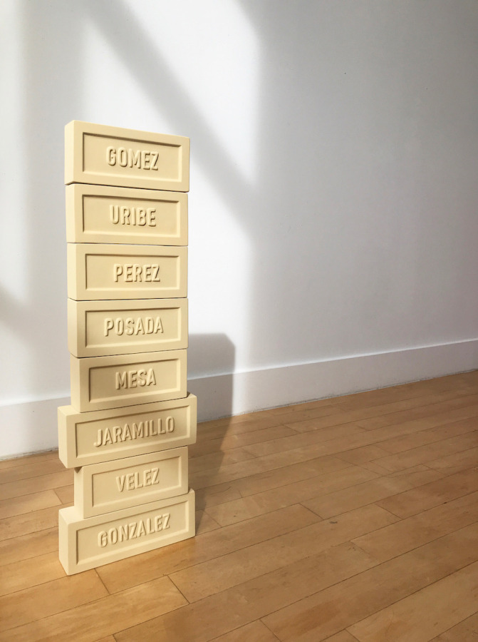 Pablo Gómez Uribe, Family's Manifest, 2018, 8 clay bricks, 19.05 x 8.90 x 6.35 cm/7.50 x 3.50 x 2.50 in. Ed. 3+1AP. Photo: Javier Morales