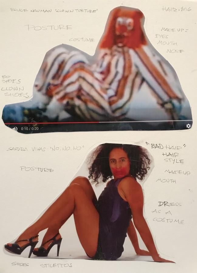 """Sandra Vivas, Apariencia Desnuda de """"No, No, No"""" 1, 2018, collage y lápiz sobre papel libre de ácido, 43,2 cm x 35,5 cm. Cortesía: ABRA Caracas"""