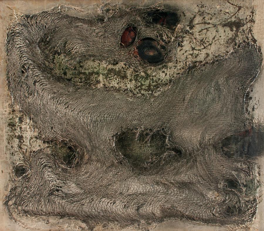 José María Cruxent, Sans erotisme il n'y aurait pas d'amour [Sin erotismo no habría amor], 1965, medios mixtos sobre tela. Colección privada, Caracas.