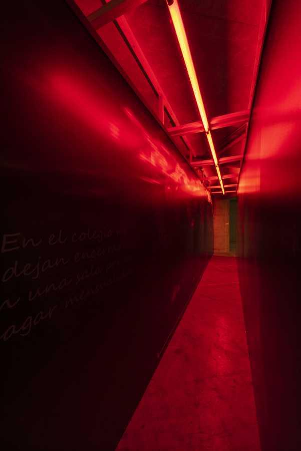 Carrie Gálvez, Cartografía Interior, 2018, panelería y tubos fluorescentes, 2,45 m x 7,70 m x 90 cm. Foto: Jorge Brantmayer