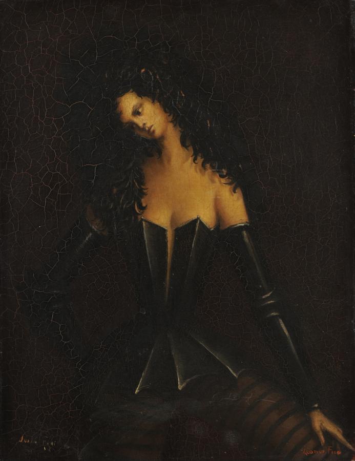Leonor Fini, Mujer en armadura I, c. 1938, óleo sobre tela. Cortesía: Weinstein Gallery, San Francisco