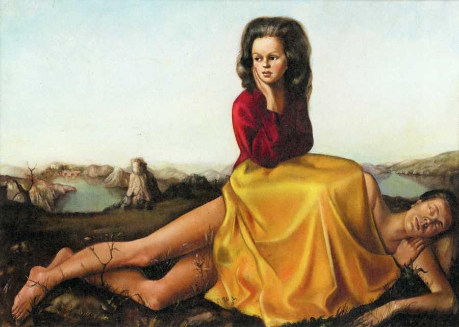 Leonor Fini, Mujer sentada sobre un hombre desnudo, 1942, óleo sobre tela. Colección privada. Cortesía: MoSEX