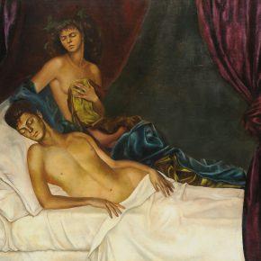 Leonor Fini, La alcoba/Autorretrato con Nico Papatakis, 1941, óleo sobre tela. Cortesía: Weinstein Gallery, San Francisco