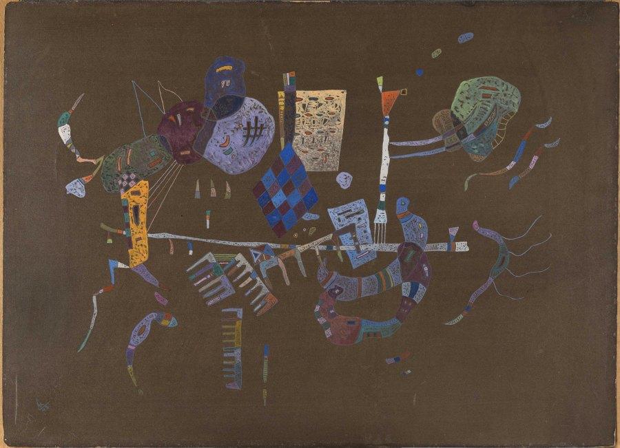 Wassily Kandinsky, Alrededor de la línea, 1943, óleo sobre cartón, 42 x 57,8 cm. Museo Nacional Thyssen-Bornemisza, Madrid