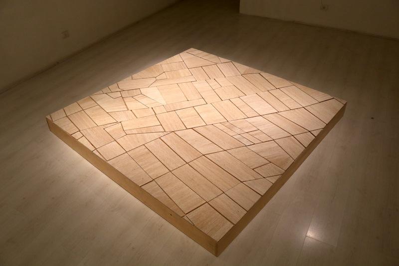 Gina Arizpe, Labor (estudio sobre paisaje), 2015, hilo de algodón y madera. Cortesía de la artista