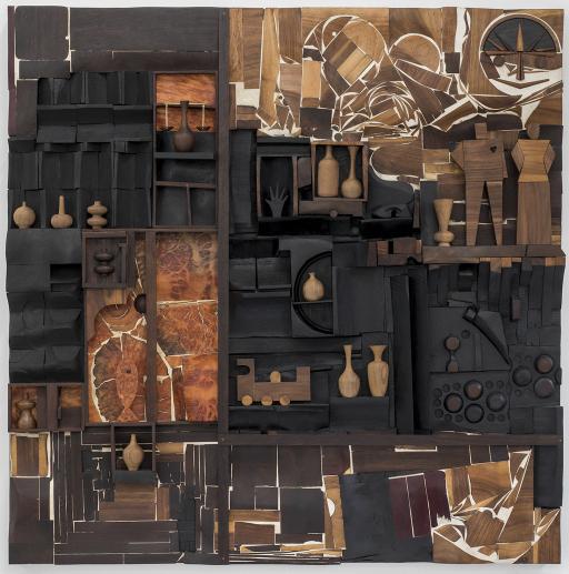 Edgar Orlaineta, Naturaleza Muerta (Universalismo Constructivo), 2018, madera, bronce y tinta china, 120 x 120 x 12 cm. Cortesía del artista y ProyectosMonclova, Ciudad de México