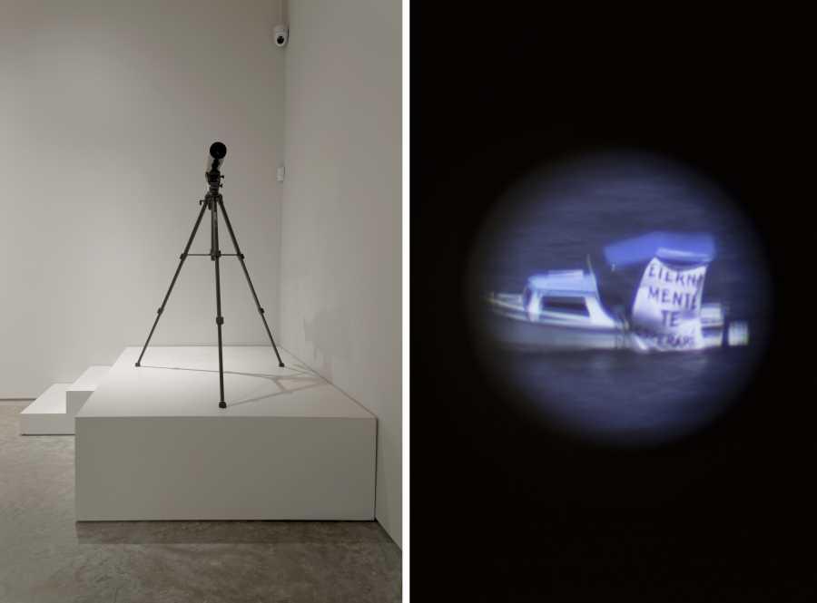 Reynier Leyva Novo, Eternamente te esperaré, 2015, video, telescopio, 10:06 min. Vista de la exposición Holes in Maps, en 601 Artspace, Nueva York, 2019. Foto cortesía: 601 Artspace /Marie Guex