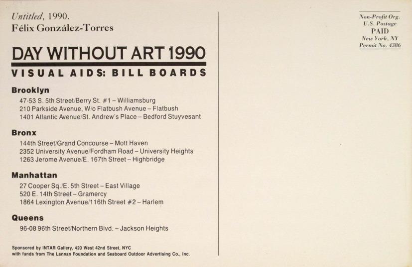 Félix González-Torres/Visual AIDS (organización), Day without art 1990: Visual AIDS: billboards, 1990. Postal. Colección MACBA. Centro de Estudios y Documentación. Donación de Xoán Anleo