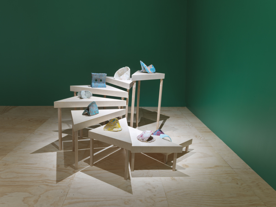 Mariana Castillo Deball, Mathematical distortions, 2012, plaster, pigments, rabbit glue, and aluminum. 9 works, approx. 15 3/4 x 15 3/4 x 15 3/4 in (40 x 40 x 40 cm) each. Museo Amparo Collection. Exhibition view: New Museum, New York, 2019. Photo: Maris Hutchinson / EPW Studio