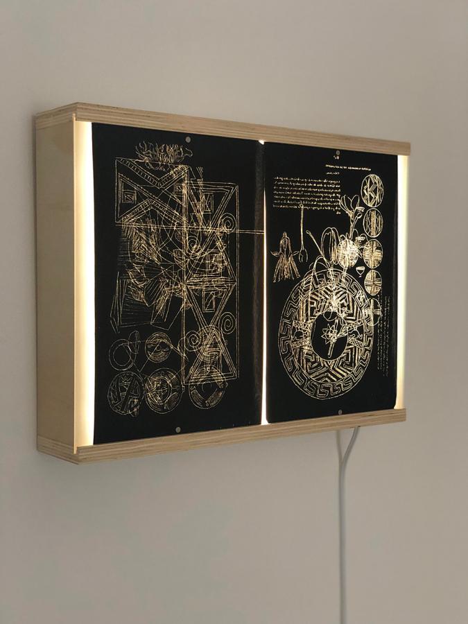 Circe Irasema, Black Memories I, 2019, two stafford carbon copy paper on lightbox 14 x 18 x 3.5 in. Photo: Zach Hyman. Courtesy: Proxyco Gallery, NY