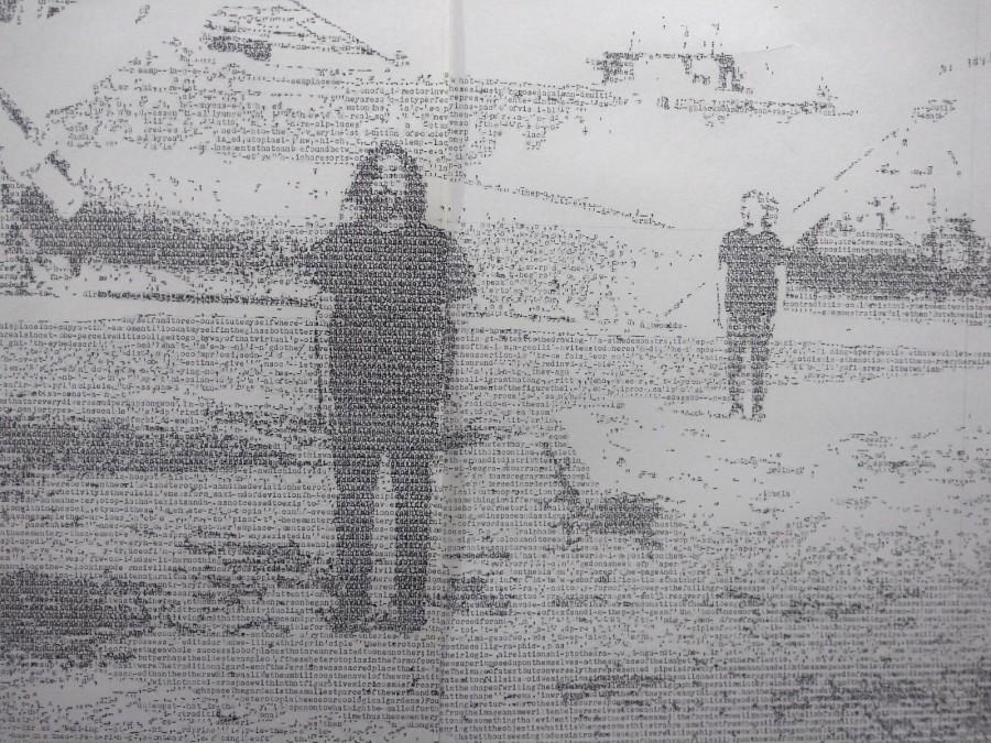 Jerry B. Martin, The X marks the spot, 2019, dibujo hecho transcribiendo un texto con máquina de escribir sobre papel caligráfico,150 x 229 cm. Foto: Alejandra Villasmil