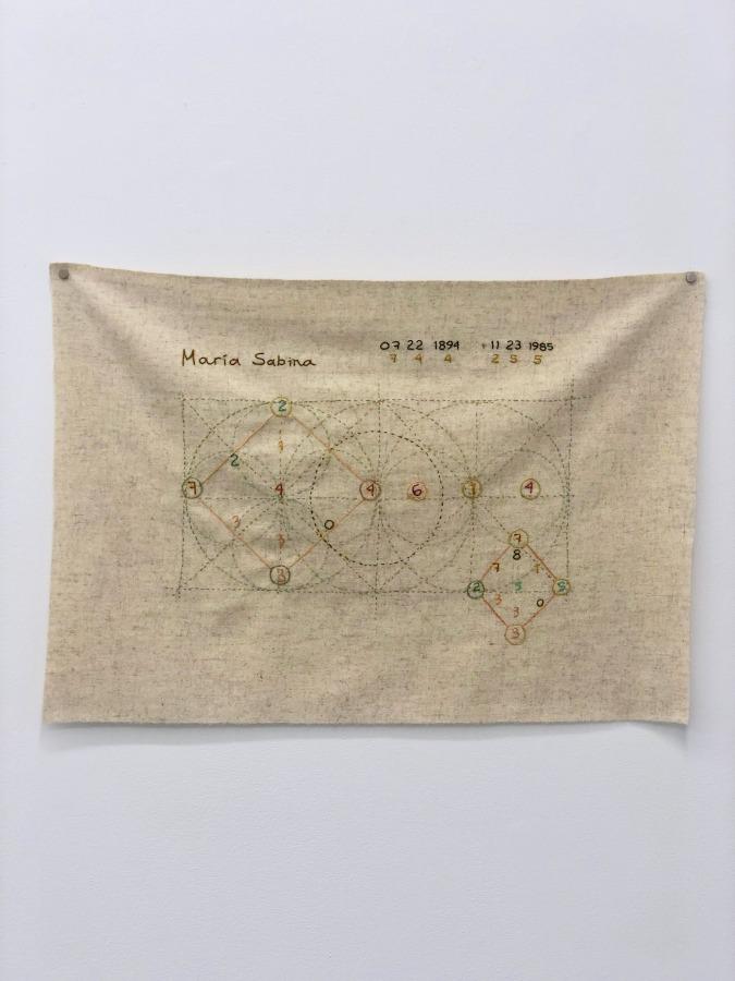 Isa Carrillo, María Sabina, 2019, thread on fabric. Photo: Zach Hyman. Courtesy: Proxyco Gallery, NY